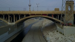 Aerial Drone shot of Downtown La and La River Stock Footage