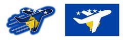Nation flag - Airplane isolated - Kosovo Stock Illustration