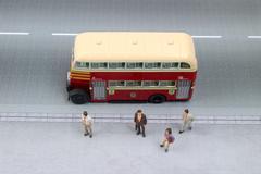 The mini figure waiting bus Stock Photos