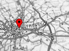Focus on Treviso city ( Italy ) over a road map Stock Photos