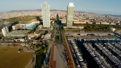 Aerial view. Barcelona. Architecture, buildings and streets. Spain. ProRes. 4K. Stock Footage