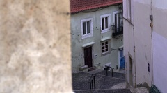 Typical portuguese stairs in streets of Alfama in lisbon - Stock Footage