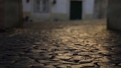 Typical portuguese sidewalk  streets of Alfama - Lisbon, Portugal Stock Footage