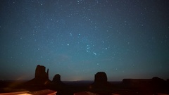 8K Monument Valley Orionids Meteor Shower & Milky Way Galaxy Stock Footage