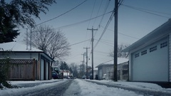 Alley Behind Houses On Snowy Winter Day Stock Footage