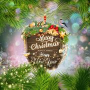 Wooden banner with Christmas Fir-tree branches. Stock Illustration