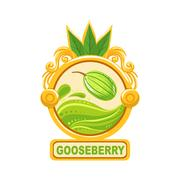 Gooseberry Bright Color Jam Label Sticker Template In Round Frame Stock Illustration