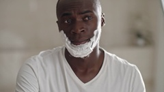 Man Shaving Stubble Stock Footage