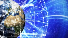 Earth, Connection Network Concept, Animation, Rendering Background, Loop, 4k Stock Footage