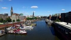 Aerial Hamburg Kanal Boot Stock Footage