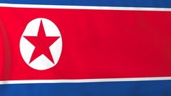 Flag of North Korea waving in the wind, seemless loop animation Stock Footage