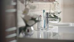 Hands Washing in Bathroom Stock Footage