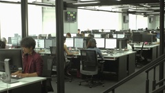 Open office, call center, modern open space and multi ethnic Stock Footage