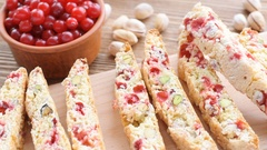 Biscotti with pistachios and cranberries. Stock Footage