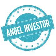 ANGEL INVESTOR stamp sign cyan blue. Stock Illustration