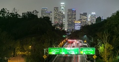 Timelapse of downtown Los Angeles above traffic Arkistovideo