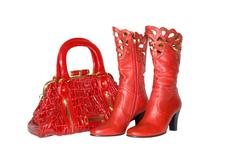 Red handbag and boots Stock Photos