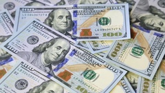American money dollars on rotating surface background Stock Footage