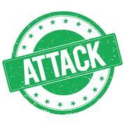 ATTACK stamp sign green Stock Illustration