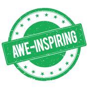 AWE INSPIRING stamp sign green Stock Illustration