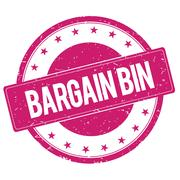BARGAIN-BIN stamp sign magenta pink Stock Illustration