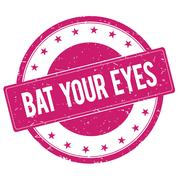 BAT-YOUR-EYES stamp sign magenta pink Stock Illustration