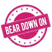 BEAR-DOWN-ON stamp sign magenta pink Stock Illustration