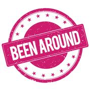 BEEN-AROUND stamp sign magenta pink Stock Illustration