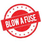 BLOW A FUSE stamp sign red Stock Illustration