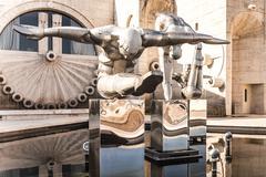 Sculptures of people on the cascade of fountains. Yerevan. Armenia Stock Photos