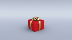 Red gift box with golden ribbon opening. Alpha channel included. 4K Stock Footage