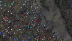 Aerial view on flooded residential area. village flood Stock Footage