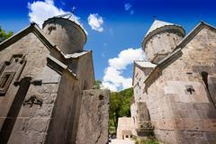 Monastery walls under the open sky. Monastery in Armenia Stock Photos