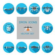 Set of drones vector isolated icons. Piirros