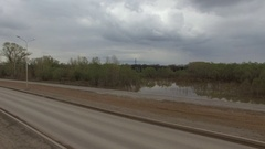 Aerial view on flooded road top Stock Footage