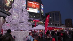 People in street at Christmas Yonge Dundas Square downtown of Toronto Stock Footage