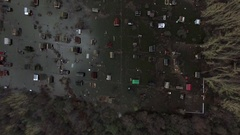 Aerial view on flooded residential area village Stock Footage