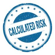 CALCULATED RISK stamp sign Stock Illustration