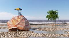 Relaxing vacation concept background with seashell,umbrella and beach Stock Illustration
