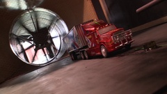 Toy truck in a wind tunnel testing aerodynamic Stock Footage