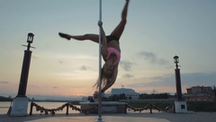 Street Pole dance on sunset stock footage video Stock Footage