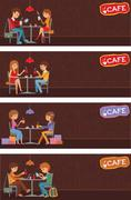 Couples of people in cafe. Vector Illustration with friends men and women Piirros