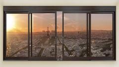 Paris skyline timelapse seen through a window Stock Footage