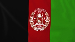 Flag of Afghanistan waving in the wind, seemless loop animation Stock Footage