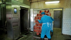 Production of sausages in meat industry production Stock Footage