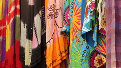 Traditional dresses on the walls of Jaisalmer fort, India Stock Footage