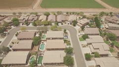 Houses Aerial - Real Estate, 4k clip flying above houses in Phoenix Stock Footage