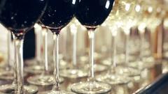 Stylish Wine Glasses Stock Footage