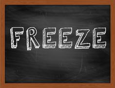 FREEZE  hand writing text on black chalkboard Stock Illustration