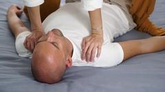 Detail thai yoga massage neck Stock Footage